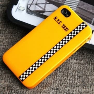 Essential TPE Iro Glossy New York Taxi UV Coating Snap Case for iPhone 4