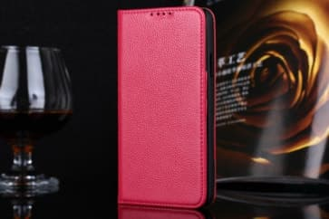 Real Premium Leather Wallet Folio Galaxy S5 Case and Stand Rose Pink