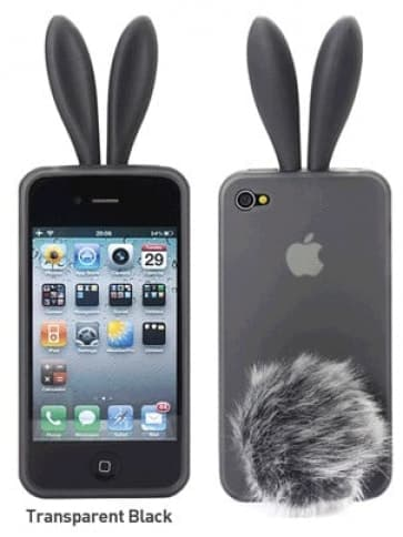 Rabito Bunny Ears Rabbit Furry Tail Grey Silicone 3D iPhone 4 Case
