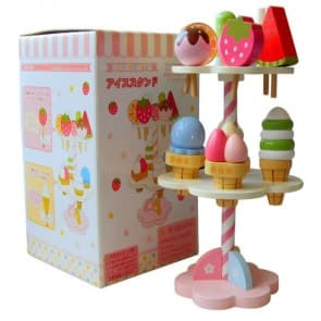 Mother Garden Handmade Wooden Pretend Play Toy--Summer Ice Cream, Fruit and Candy Stand Set