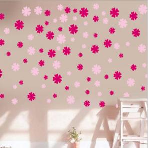 Pink Flower Shower Wall Decal Sticker