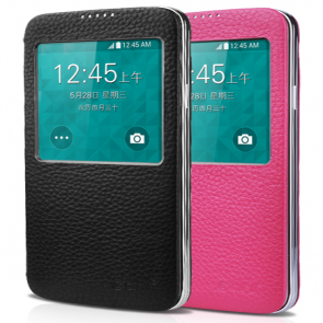 Premium Real Leather S-View Case for Galaxy S5