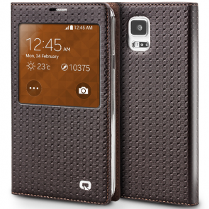 Executive Premium Handcrafted Leather S-View Case for Galaxy S5 Brown Lattice