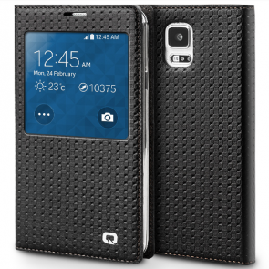 Executive Premium Handcrafted Leather S-View Case for Galaxy S5 Black Lattice